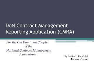 DoN Contract Management Reporting Application (CMRA)