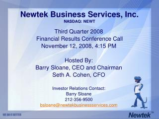 Newtek Business Services, Inc. NASDAQ: NEWT