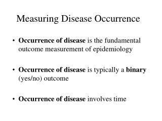 Measuring Disease Occurrence