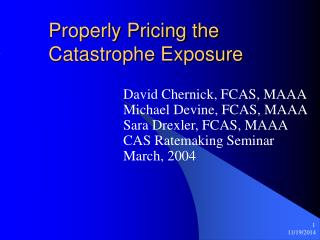 Properly Pricing the Catastrophe Exposure