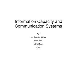 Information Capacity and Communication Systems