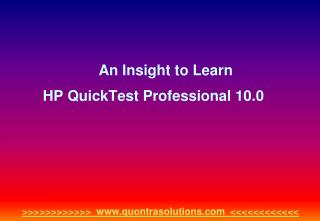 An insight to learn hp quick test professional 10.0 by quont