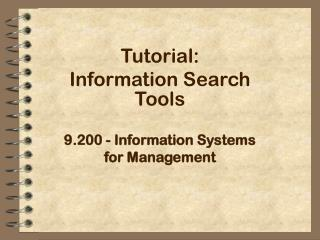 9.200 - Information Systems for Management