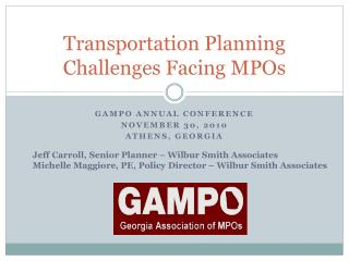 Transportation Planning Challenges Facing MPOs