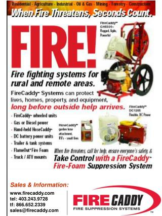 Sales & Information: firecaddy tel: 403.243.9728 tf: 866.652.2339 sales@firecaddy