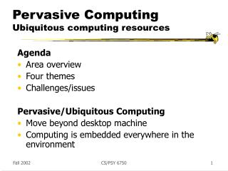 Pervasive Computing Ubiquitous computing resources