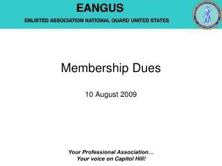 Membership Dues 10 August 2009