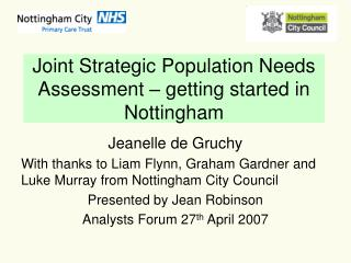 Joint Strategic Population Needs Assessment – getting started in Nottingham