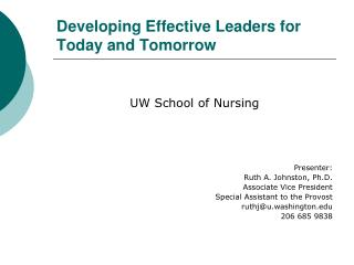 Developing Effective Leaders for Today and Tomorrow