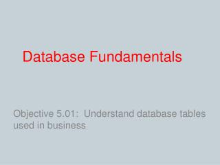 Database Fundamentals