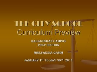 THE CITY SCHOOL Curriculum Preview