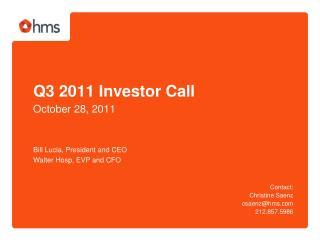 Q3 2011 Investor Call