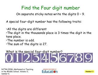 Find the Four digit number