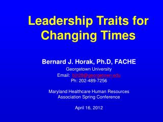 Leadership Traits for Changing Times
