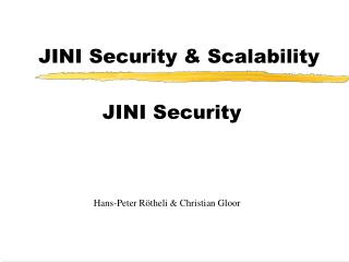 JINI Security & Scalability