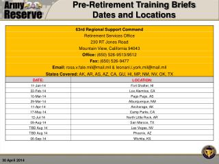 Pre-Retirement Training Briefs  Dates and Locations