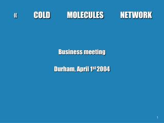 « COLD MOLECULES NETWORK