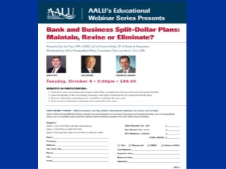 AALU's Educational Webinar Series Presents: