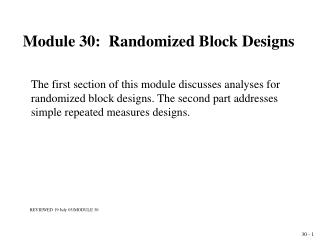 Module 30:  Randomized Block Designs