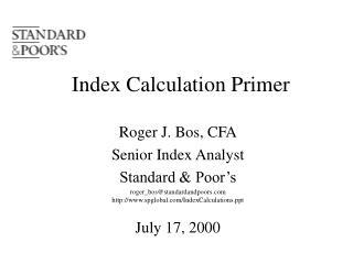 Index Calculation Primer