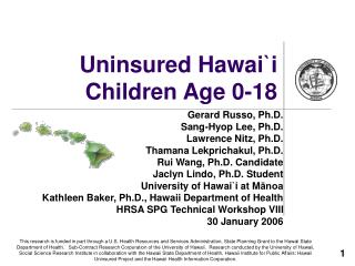 Uninsured Hawai `i Children Age 0-18
