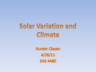 Solar Variation and Climate