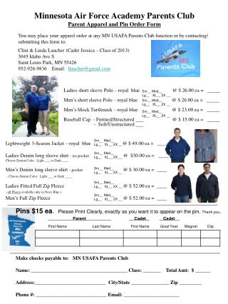 Minnesota Air Force Academy Parents Club Parent Apparel and Pin Order Form