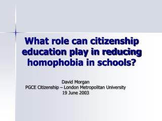 What role can citizenship education play in reducing homophobia in schools