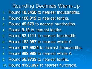 Rounding Decimals Warm-Up