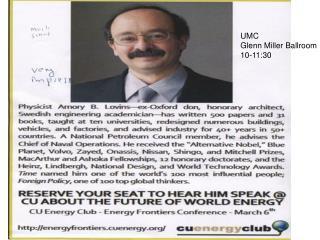 UMC  Glenn Miller Ballroom 10-11:30