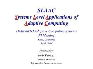 SLAAC S ystems  L evel  A pplications of  A daptive  C omputing