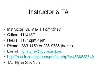 Instructor & TA