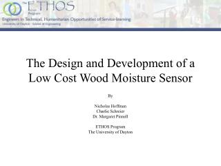 The Design and Development of a Low Cost Wood Moisture Sensor