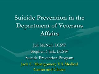 Suicide Prevention in the Department of Veterans Affairs