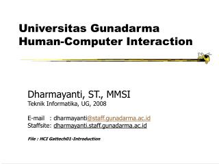 Universitas Gunadarma  Human-Computer Interaction