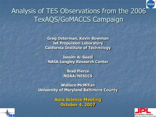 Analysis of TES Observations from the 2006 TexAQS/GoMACCS Campaign
