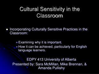 Cultural Sensitivity in the Classroom