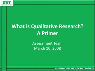 What is Qualitative Research? A Primer
