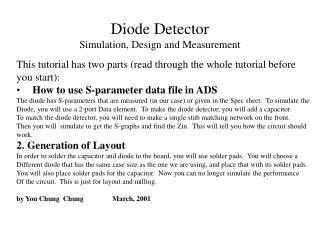 Diode Detector  Simulation, Design and Measurement
