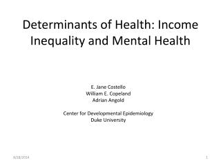 Determinants of Health: Income Inequality and Mental Health