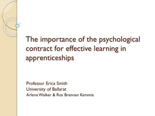The importance of the psychological contract for effective learning in apprenticeships