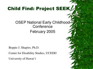 Child Find: Project SEEK