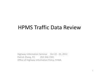 HPMS Traffic Data Review