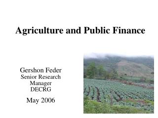 Agriculture and Public Finance