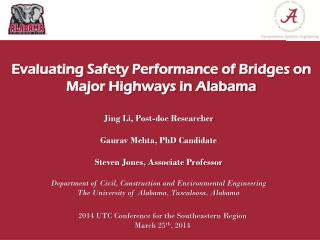 Evaluating Safety Performance of Bridges on Major Highways in Alabama