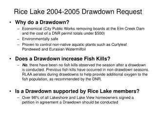 Rice Lake 2004-2005 Drawdown Request