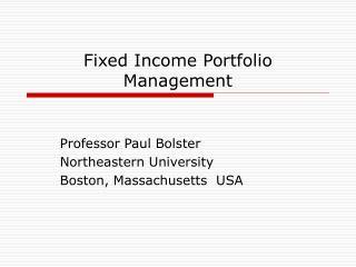 Fixed Income Portfolio Management