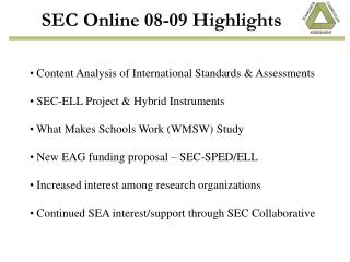 SEC Online 08-09 Highlights