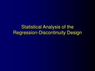 Statistical Analysis of the Regression-Discontinuity Design