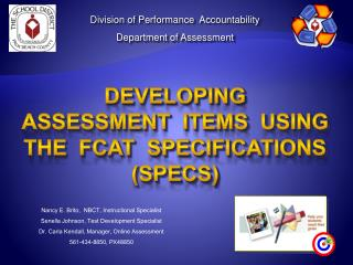 Division of Performance  Accountability Department of Assessment